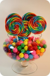 lollipops and gumballs